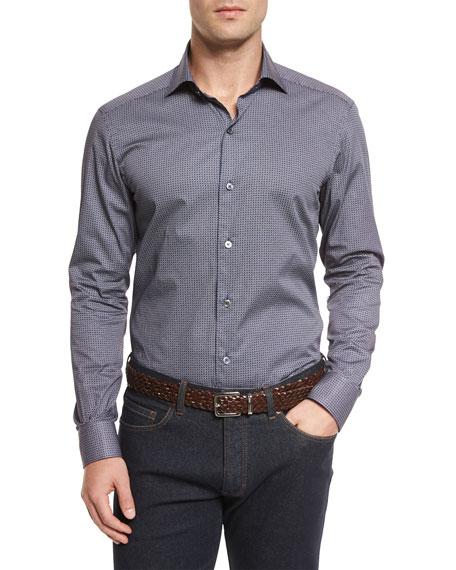 Ermenegildo Zegna Micro-Print Long-Sleeve Sport Shirt, Navy