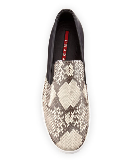Men's Python Leather Slip-On Sneakers, Brown
