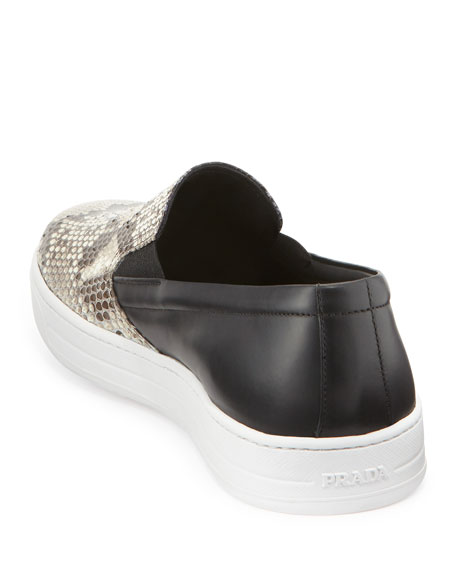 Python Leather Slip-On Sneaker, Brown