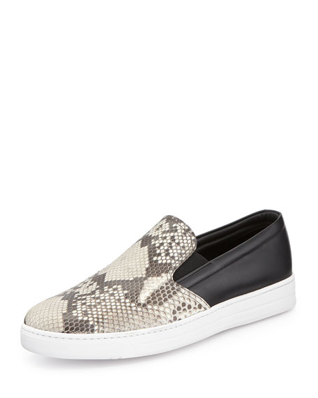 Prada Python Leather Slip-On Sneaker, Brown