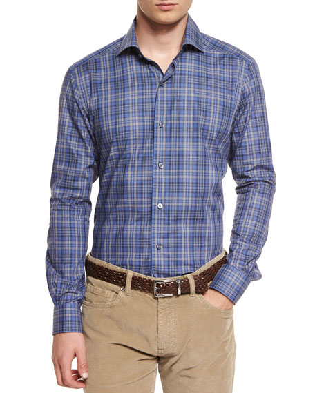 Ermenegildo Zegna Melange Plaid Long-Sleeve Sport Shirt, Blue