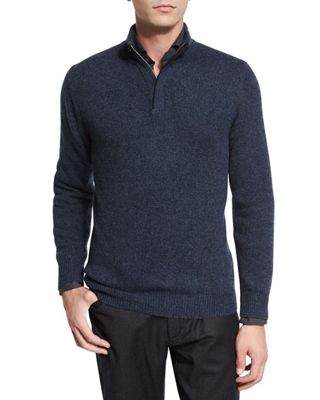 Ermenegildo Zegna Melange Cashmere Half-Zip Pullover Sweater, Navy