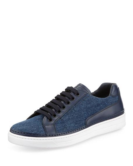 Prada Avenue Denim/Leather Low-Top Sneaker, Blue