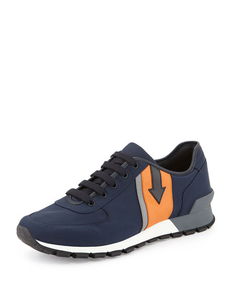 Prada Arrow-Side Nylon Running Sneaker, Navy