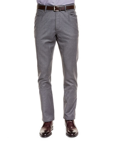Five-Pocket Stretch Pants, Dark Gray
