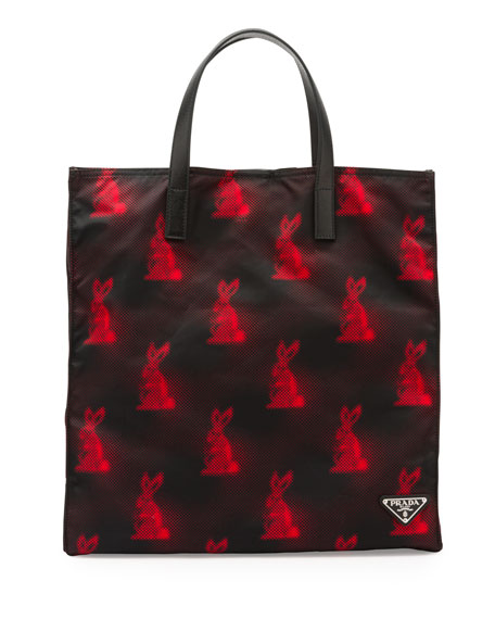Prada Digital Bunny-Print Nylon Tote Bag, Black/Red