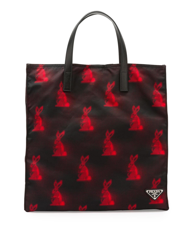 328416be4654 Prada Digital Bunny-Print Nylon Tote Bag