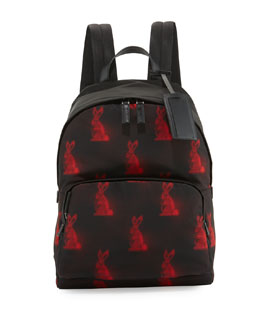 Men's Digital Bunny-Print Nylon Backpack, Black/Red