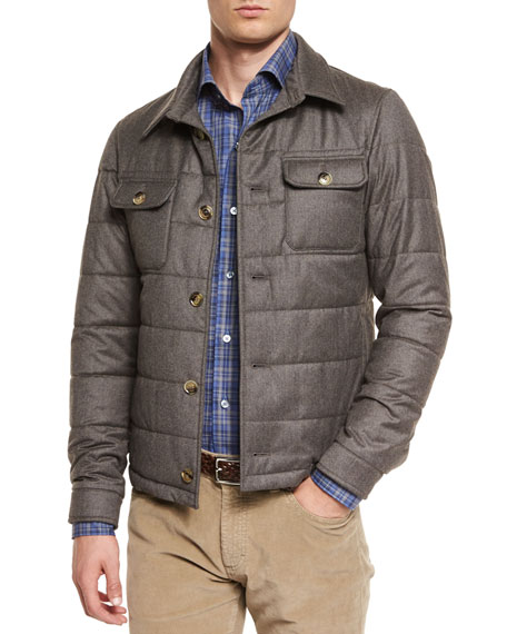Ermenegildo Zegna Cashmere-Blend Button-Down Field Jacket, Brown