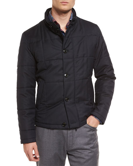 Ermenegildo Zegna Square-Quilted Button-Down Shirt Jacket, Navy