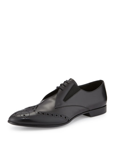 Runway Perforated Leather Wing-Tip Shoe, Black