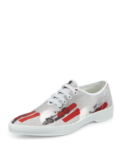 Runway Racecar Lace-Up Sneaker, White/Red