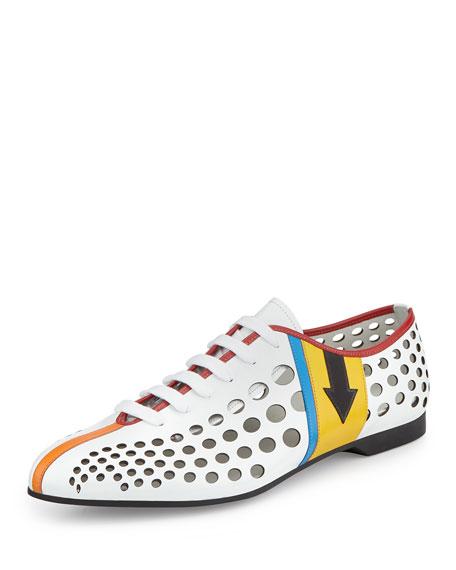 Prada Runway Perforated Lace-Up Sneaker, White Multi