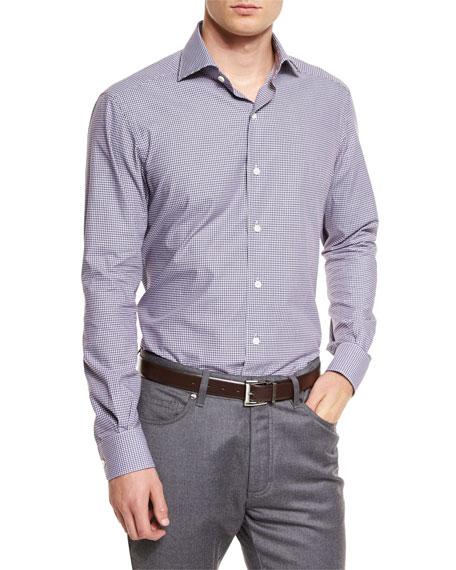 Ermenegildo Zegna Micro-Check Long-Sleeve Sport Shirt, Brown