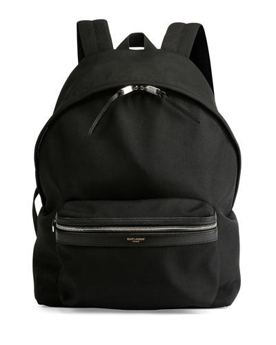 Solid Nylon Backpack, Black