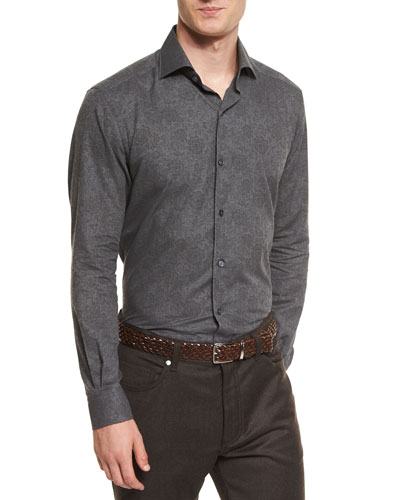 Floral-Print Flannel Sport Shirt, Charcoal
