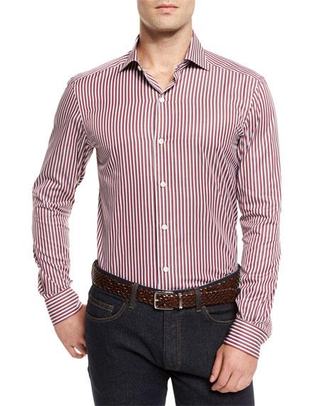 Ermenegildo Zegna Track-Stripe Long-Sleeve Sport Shirt, Red