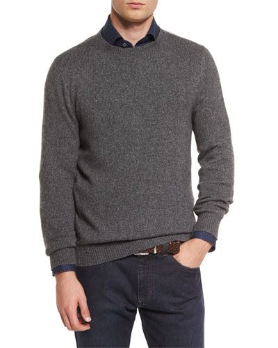 Melange Cashmere-Blend Sweater, Gray