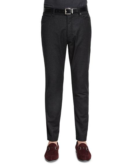 Ermenegildo Zegna Five-Pocket Stretch-Wool Pants, Brown