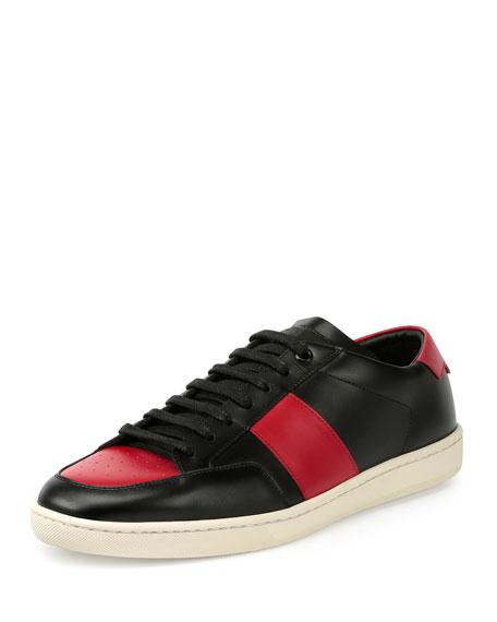 Saint Laurent SL/10H Leather Low-Top Sneaker, Black/Red