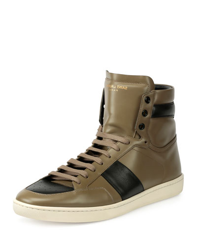 SL/10H Leather High-Top Sneaker, Green/Black