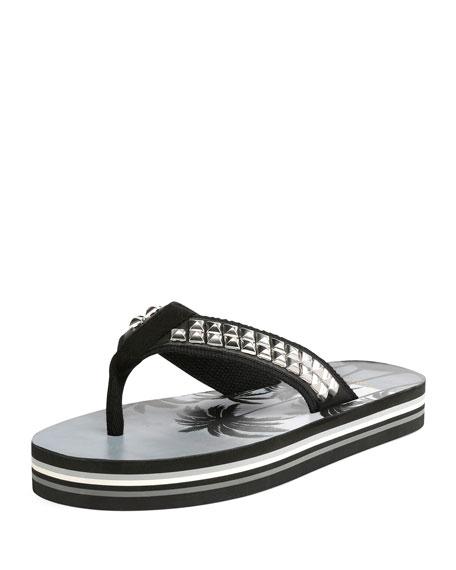 Saint Laurent Studded Platform Flip-Flop Sandals, Black