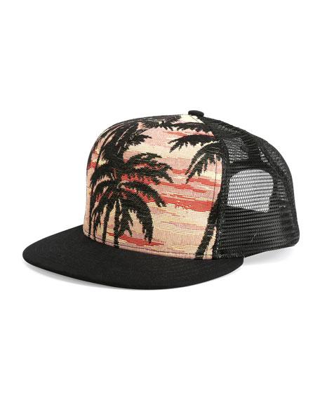 Saint Laurent Palm Tree Printed Flat Bill Hat Multi