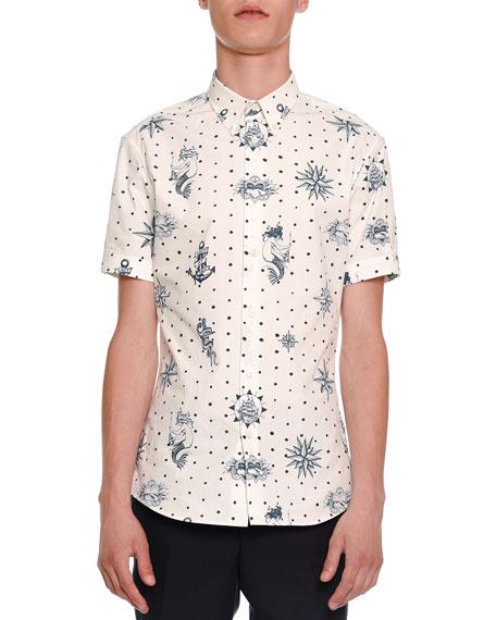 Alexander McQueen Tattoo-Print Short-Sleeve Shirt, White/Navy