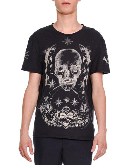 Alexander McQueen Skull & Star Graphic Short-Sleeve T-Shirt, Navy
