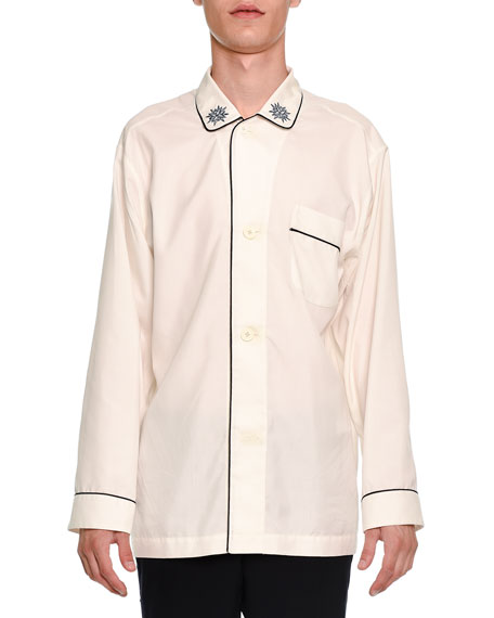 Alexander McQueen Long-Sleeve Pajama Shirt with Trim, Ivory