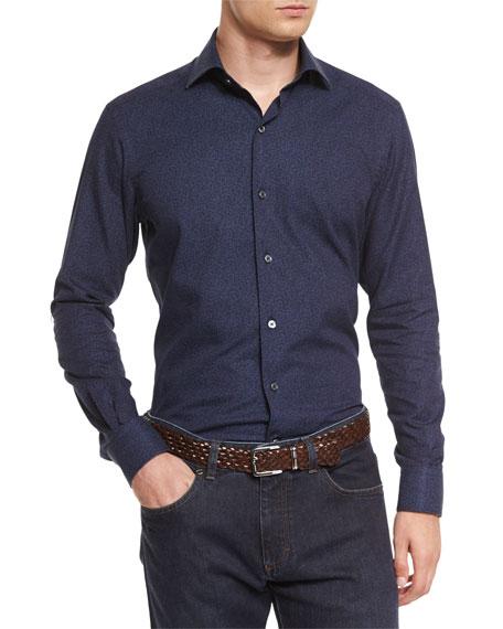 Ermenegildo Zegna Micro Floral-Print Long-Sleeve Sport Shirt, Navy