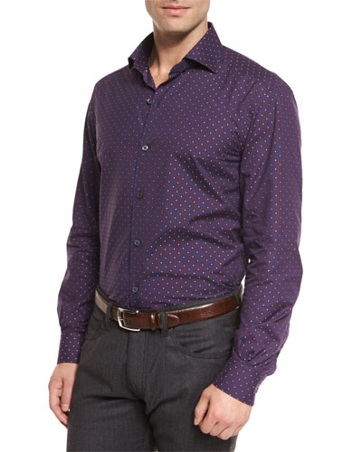 Jacquard-Check Long-Sleeve Sport Shirt, Red