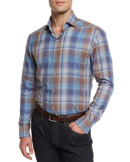 Ermenegildo Zegna Extra-Large Plaid Sport Shirt, Blue