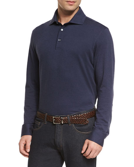 Ermenegildo Zegna Cashmere-Blend Long-Sleeve Polo Shirt, Navy
