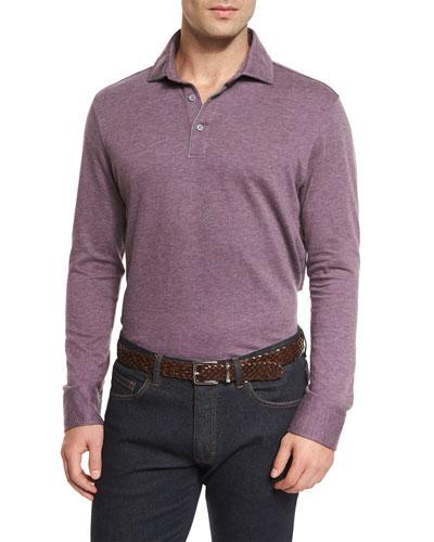 Cashmere-Blend Long-Sleeve Polo Shirt, Purple