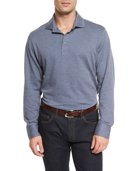 Ermenegildo Zegna Cashmere-Blend Long-Sleeve Polo Shirt, Blue
