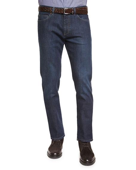 Ermenegildo Zegna Five-Pocket Stretch-Denim Jeans, Navy