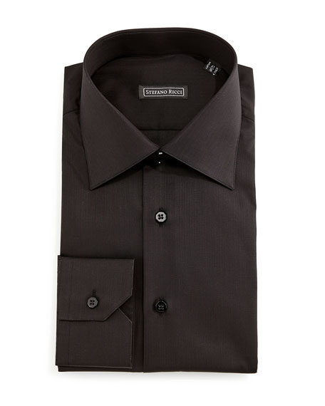 Stefano Ricci Solid Button-Down Dress Shirt, Black