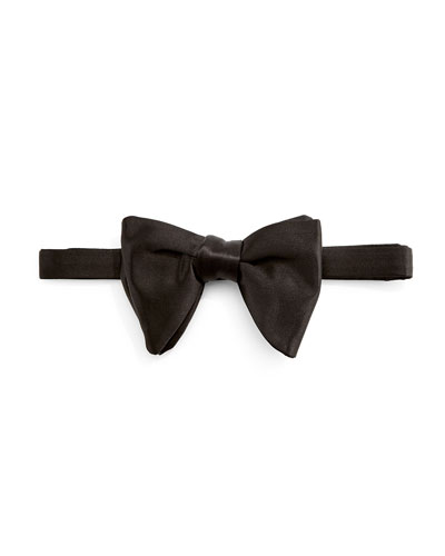 Large Satin Bow Tie, Black