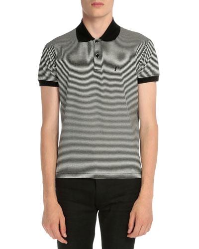 Striped Logo Short-Sleeve Polo Shirt, Black/Blue