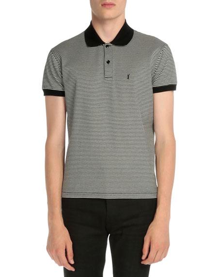 Saint Laurent Striped Monogram Pique Polo Shirt