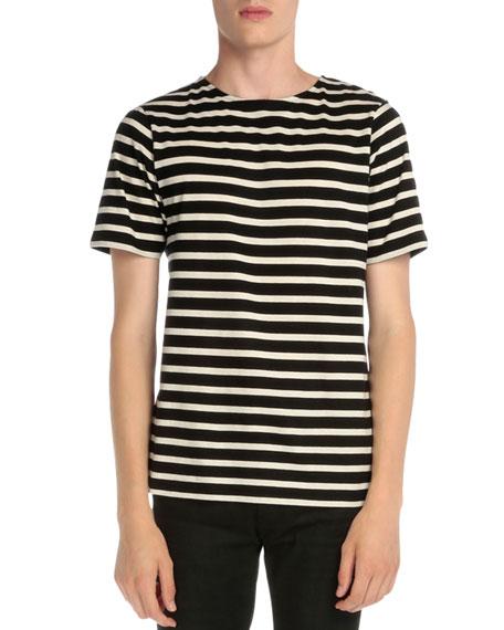 Saint Laurent Striped Crewneck Short-Sleeve T-Shirt, Black/White