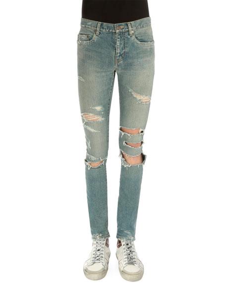 Saint Laurent Super-Torn Destroyed Denim Jeans, Light Blue