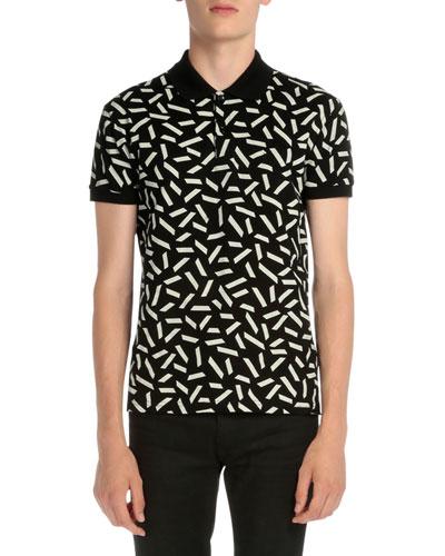 Dash-Print Short-Sleeve Polo Shirt, Black/White