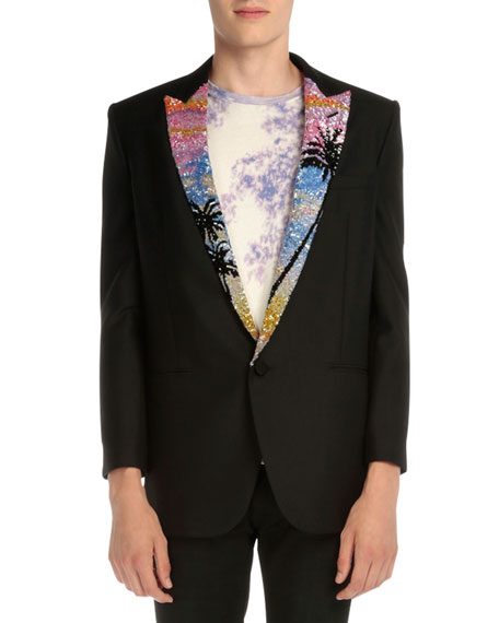 Saint Laurent Blazer with Tropical-Sequin Lapel, Black