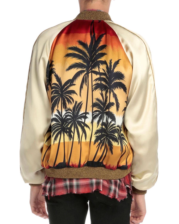 31a7d2fba1b Saint Laurent Palm Tree-Print Satin Bomber Jacket, Multi | Neiman Marcus