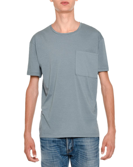 Valentino Basic Crewneck Short-Sleeve Tee & Slim-Fit Medium-Wash