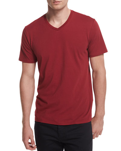 V-Neck Short-Sleeve Jersey Tee, Red