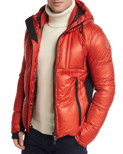 Baise Hooded Nylon Down Puffer Jacket, Red
