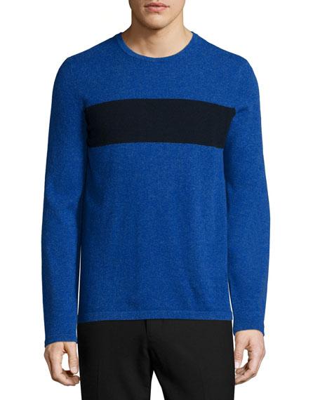 Vince Cashmere-Blend Striped Crewneck Sweater, Blue